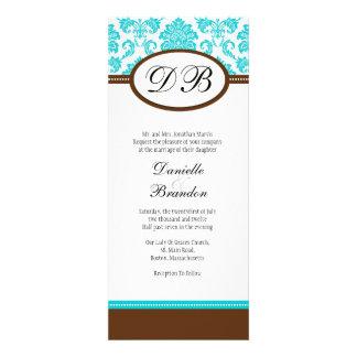 Blue and Brown Damask Monogram Wedding Invitation