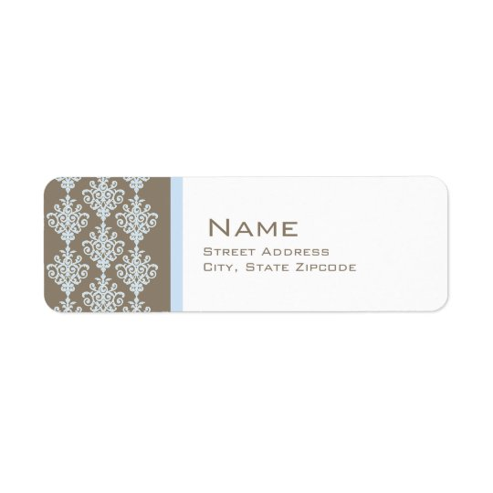 Blue and Brown Damask Return Address Label