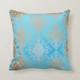 Blue and Brown Distressed Throw Pillow