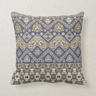 Blue and brown ethnic pattern Throw Pillow
