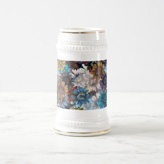 Blue and brown floral beer stein