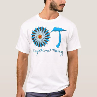 Blue and Brown Flower Power T-Shirt