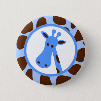 Blue and Brown Giraffe Spots and Giraffe Head 2 Inch Round Button