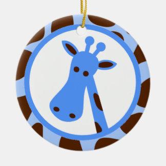 Blue and Brown Giraffe Spots and Giraffe Head Ceramic Ornament