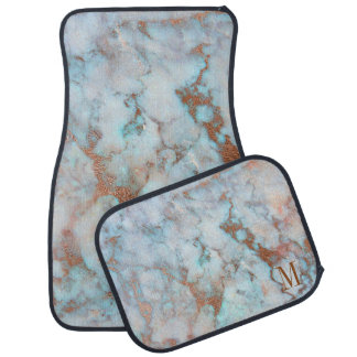 Blue And Brown Glitter Marble Stone Car Mat