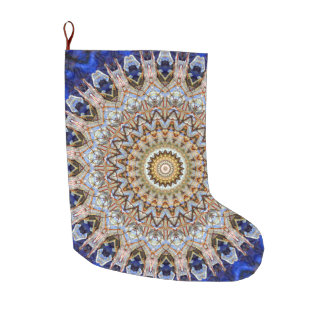 Blue and Brown Icy Christmas Large Christmas Stocking