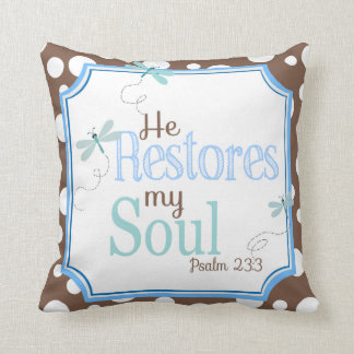 Blue and Brown Inspirational Pillow