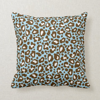 Blue and Brown Leopard Spotted Animal Print Throw Pillow