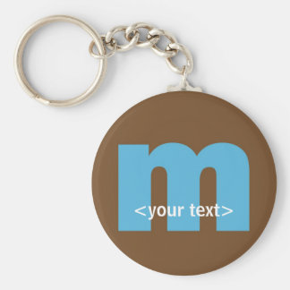 Blue and Brown Monogram - Letter M Basic Round Button Keychain