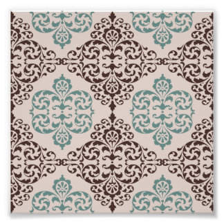 Blue and Brown Ornamental Damask Style Pattern Art Photo