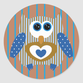 Blue and Brown Owl Cute Adorable Stickers