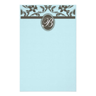 Blue and Brown Paisley Floral Monogram Stationery
