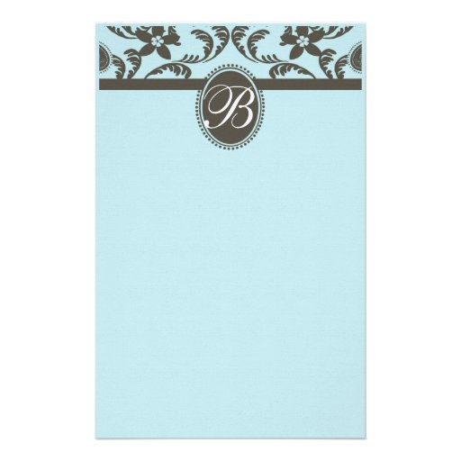Blue and Brown Paisley Floral Monogram Stationery Design