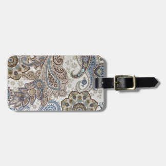 Blue and Brown Paisley Pattern Luggage Tag