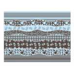 Blue and Brown Patterns Post Card