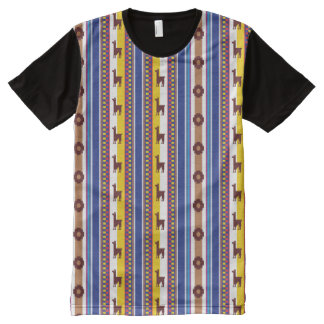 Blue and brown peruvian Llama Pattern All-Over-Print T-Shirt