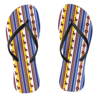 Blue and brown peruvian Llama Pattern Flip Flops