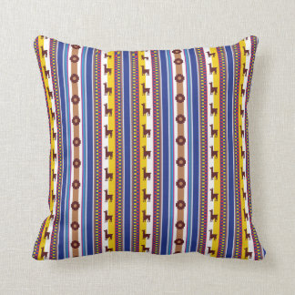 Blue and brown peruvian Llama Pattern Throw Pillow
