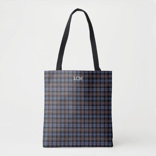 Blue and Brown Plaid Mackenzie Tartan Monogram Tote Bag