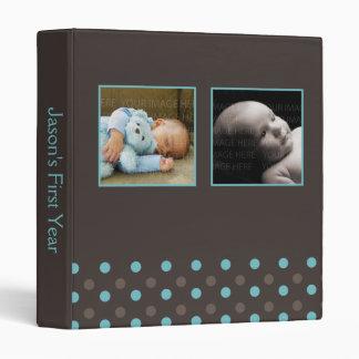 Blue and Brown Polka Dots Photo Baby Binder