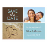 Blue and Brown Save the Date Photo Postcards