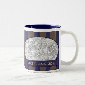Blue and brown striped photo frame Two-Tone coffee mug