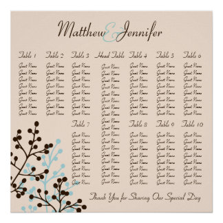 Blue and Brown Wedding Reception Seating Chart Poster