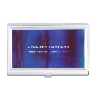 Blue and Burgundy Abstract Streaks Business Card Holder