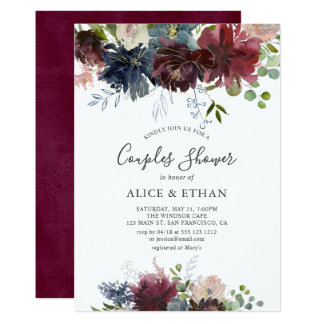 Blue And Burgundy Watercolor Floral Couples Shower Card