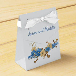 Blue and Burlap Country Wedding Favor Box