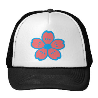 Blue and Burnt Orange Flower Trucker Hat