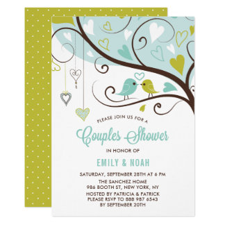 Blue and Chartreuse Love Birds Couples Shower Card