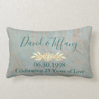 Blue and Copper 25th Wedding Anniversary Lumbar Pillow