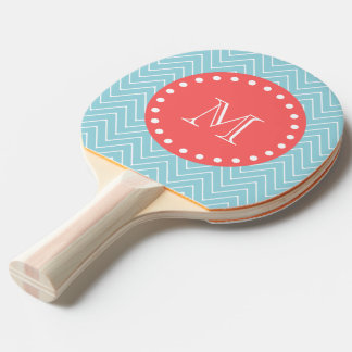 Blue and Coral Chevron with Custom Monogram Ping Pong Paddle