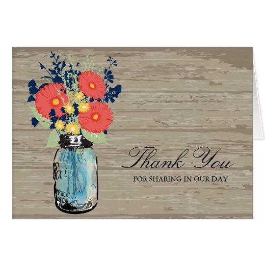 Blue and Coral Garden Mason Jar Wood | Wedding Card