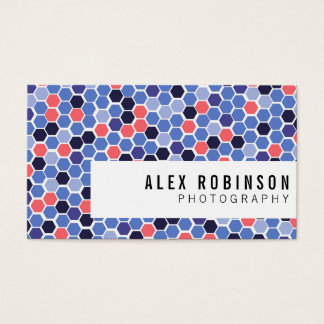 Blue and coral geometric hexagon business card