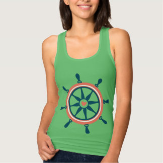 Blue And Coral Nautical Boat Wheel Tank Top