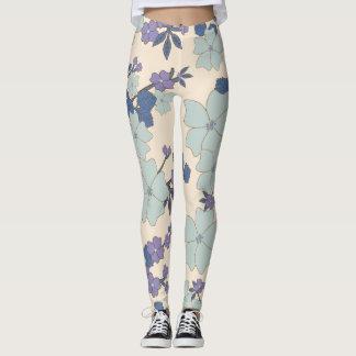 Blue and cream floral leggings