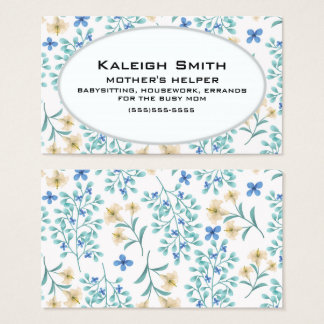 Blue and Cream Floral on White Mother's Helper Business Card