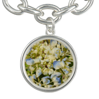 Blue and creamy white hydrangea flowers photo charm bracelets