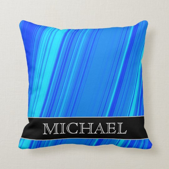 Blue and Cyan Lines Pattern + Custom Name Pillow