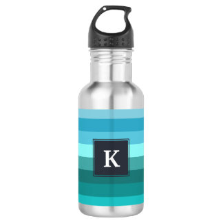 Blue and cyan stripes monogram 532 ml water bottle