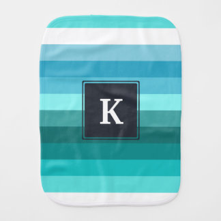 Blue and cyan stripes monogram burp cloth