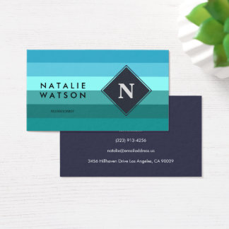 Blue and cyan stripes monogram business card