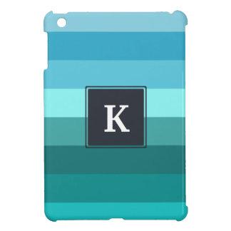 Blue and cyan stripes monogram iPad mini cover
