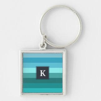 Blue and cyan stripes monogram keychain