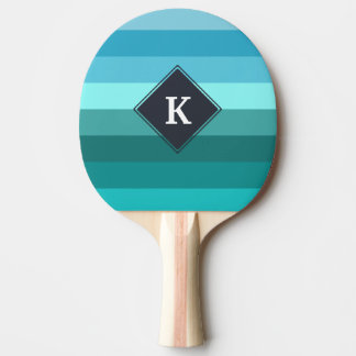 Blue and cyan stripes monogram ping pong paddle