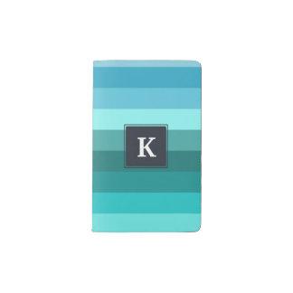 Blue and cyan stripes monogram pocket moleskine notebook