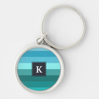 Blue and cyan stripes monogram Silver-Colored round keychain