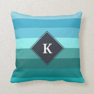 Blue and cyan stripes monogram throw pillow